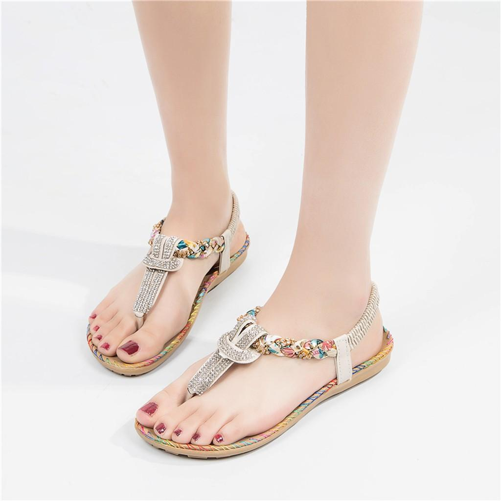 b57c1275b345 Women Summer Shoes Sandals 2019 New Fashion Crystal Sewing Roma Style  Slipper Sandals Casual Shoes Female Elastic Band Flats Espadrilles  Birkenstock Sandals ...