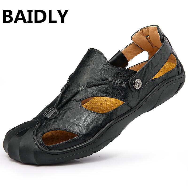 0d48c2c9491e7 BAIDLY Genuine Leather Men Sandals Male Summer Breathable Sandals Mens  Shoes Beach Sneakers Sandles Big Size Men s Sandals Cheap Men s Sandals  BAIDLY ...