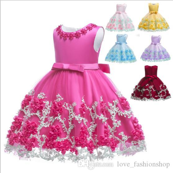 25310e5d7bac8 2019 Baby Girls Pearl Flower Mesh Lace Patchwork Princess Dress Kids Ruffle  Pleated Party Dress Wedding Dress Christening Dresses Clothing From ...