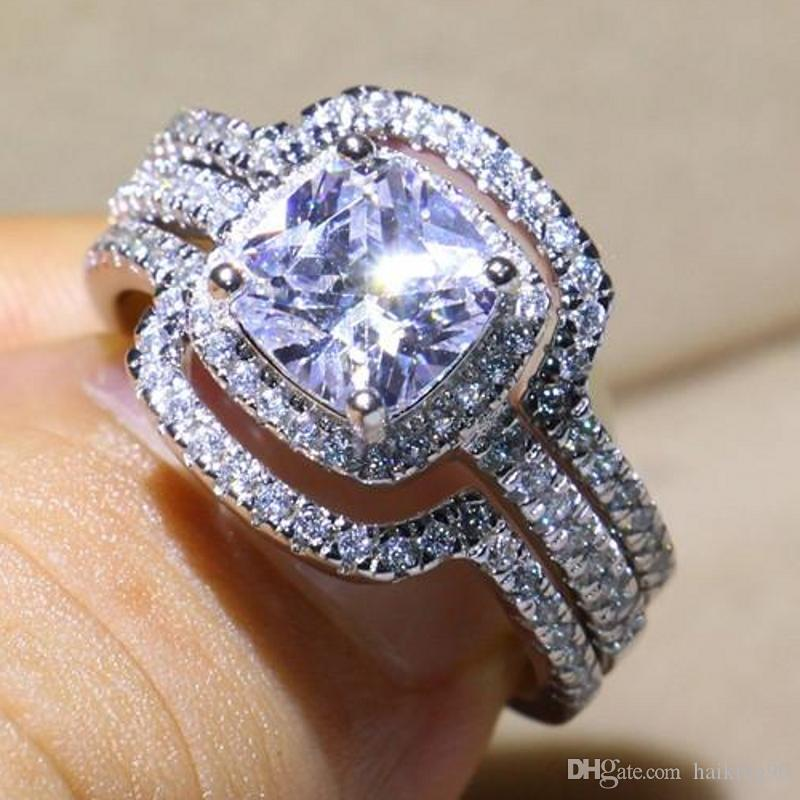 2020 3 In 1 Women Handmade Engagement Wedding Band Ring Set 4ct 5a