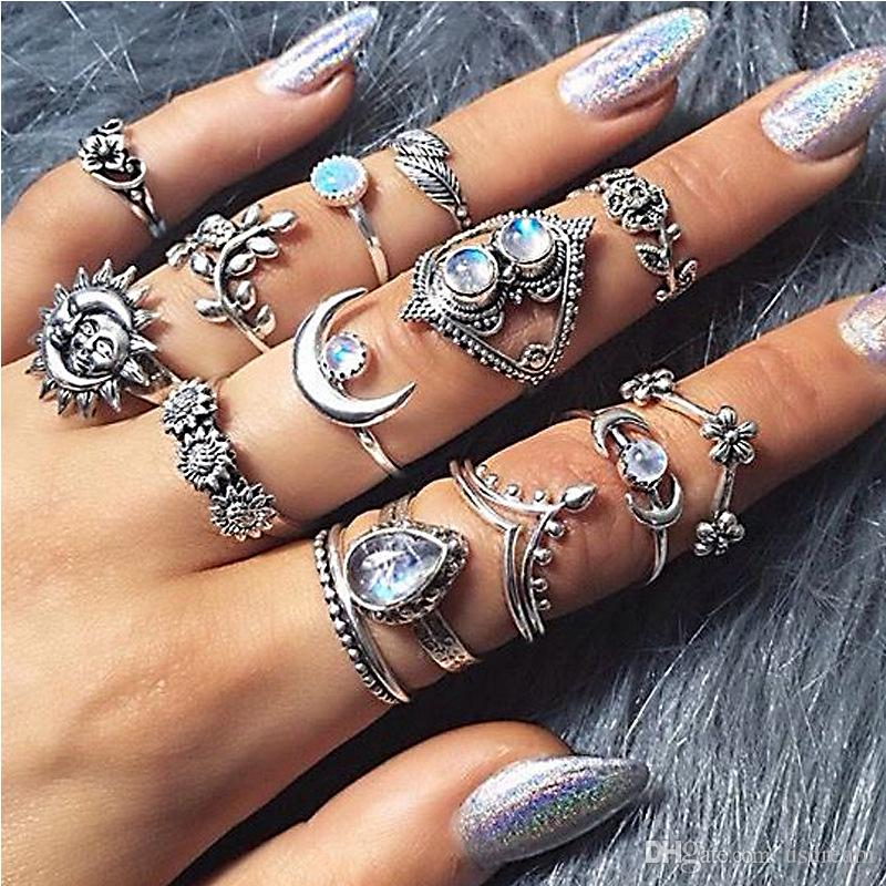 27227e2ade365 Silver Knuckle Ring Set Stacking Rings Stone Crown Moon Leaf Flower Drop  Midi Rings Women Designer Ring Jewelry Will and Sandy 080430