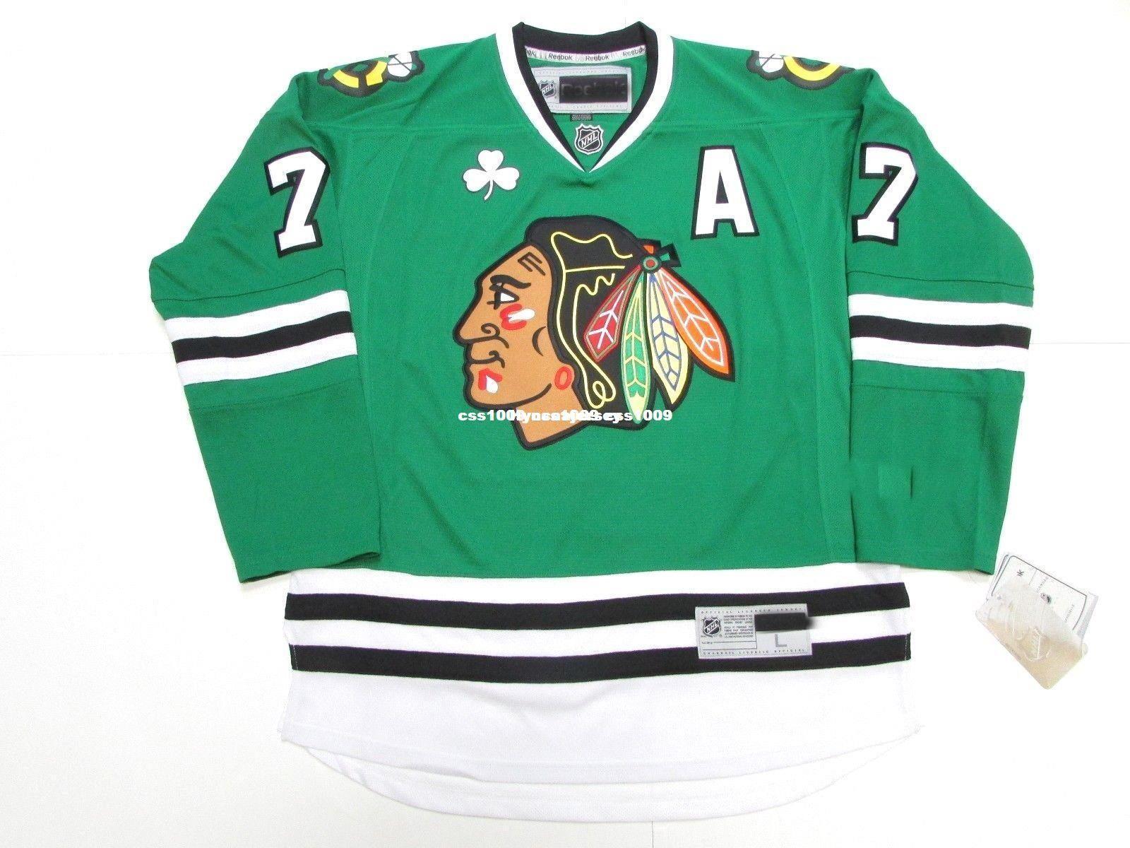 huge selection of fa917 503bd custom green blackhawks jersey