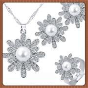 MINHIN Dubai Conjuntos de Jóias De Casamento Romântico Luxo Rhinestone Flor Imitação de Pérolas Beads Colar Brincos Vestido Set Jóias
