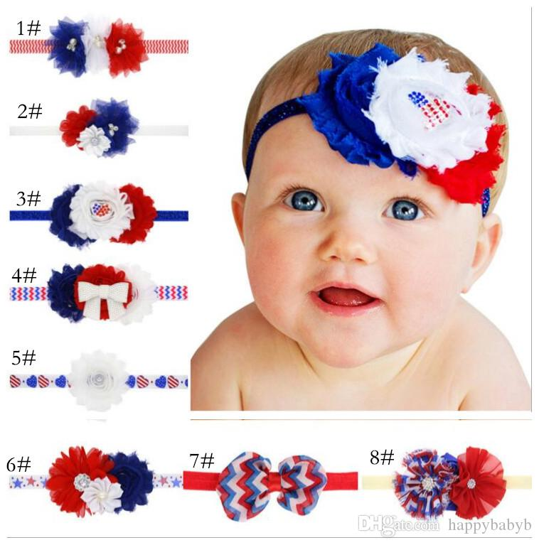 3cb9b344e531 2019 4th Of July Independence Day Headband Pearl Flower American Flag Hair  Bands Kids Chiffon Frilly USA National Flag Hair Accessories Cute Hair ...