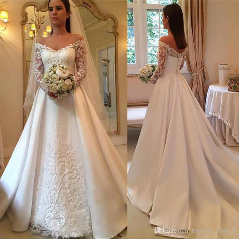 3d587bde1d5 Discount 2019 A Line Wedding Dresses Off The Shoulder Illusion Lace  Appliques Long Sleeves Modest Arabic Satin Bridal Gown With Sweep Train  Cheap Bridal ...