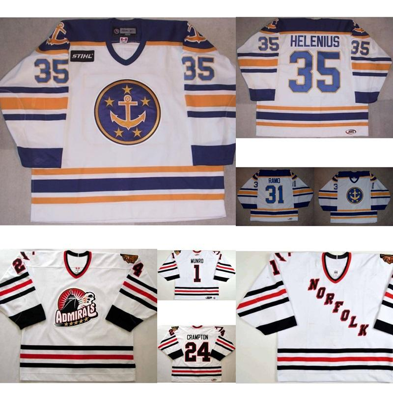 AHL Norfolk Admirals Mens Womens Kids 1 Adam Munro 4 Steven Crampton 100% Stickerei Benutzerdefinierte Eishockey Trikots Goalie Cut