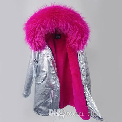 Real pictures MAOMAOKONG Brand Rose raccoon fur trim women warm jackets rose rabbit fur lining silver long parkas