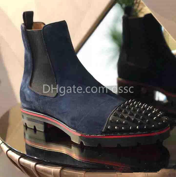 785ed9b4055 2019 new high quality gentleman luxury men ankle boots with red sole  silhouette men's boots eu36-46