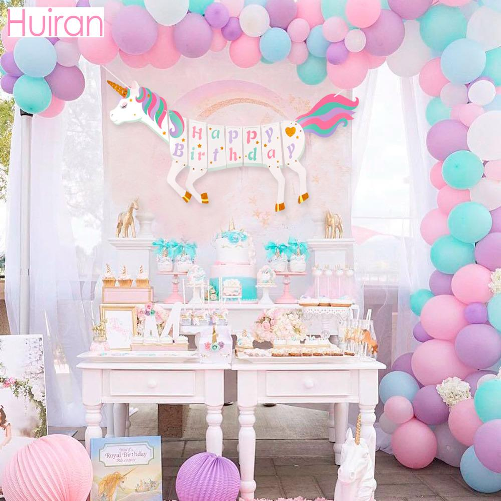 Huiran Unicorn Party Supplies Unicorn Banner Balloon Stickers