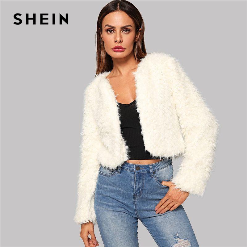 78e263d59e SHEIN Beige Solid Open Stitch High Street Crop Teddy Coat Women Jackets  Casual Club Party Winter Coat Women Going Out Outerwear Summer Jacket Faux  Fur ...