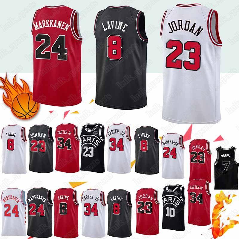 sale retailer ee14f 8e064 Chicago 23 MJ jersey Bulls Zach 8 LaVine jerseys Lauri 24 Markkanen Wendell  34 Carter Basketball Jerseys