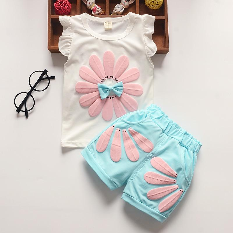 good quality baby girl clothes 2019 summer baby clothing sets fashion sunflowers vest+pants 2pcs outfits toddler kids sweatshirt set