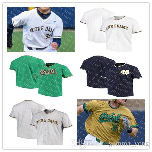 check out b8d7c e3c6d Custom Men's Notre Dame Fighting Irish College Baseball Jerseys Green  Yellow White 32 CAMERON JUNKER 26 CAMERON BROWN MARTIN NCAA Sewn Shirt