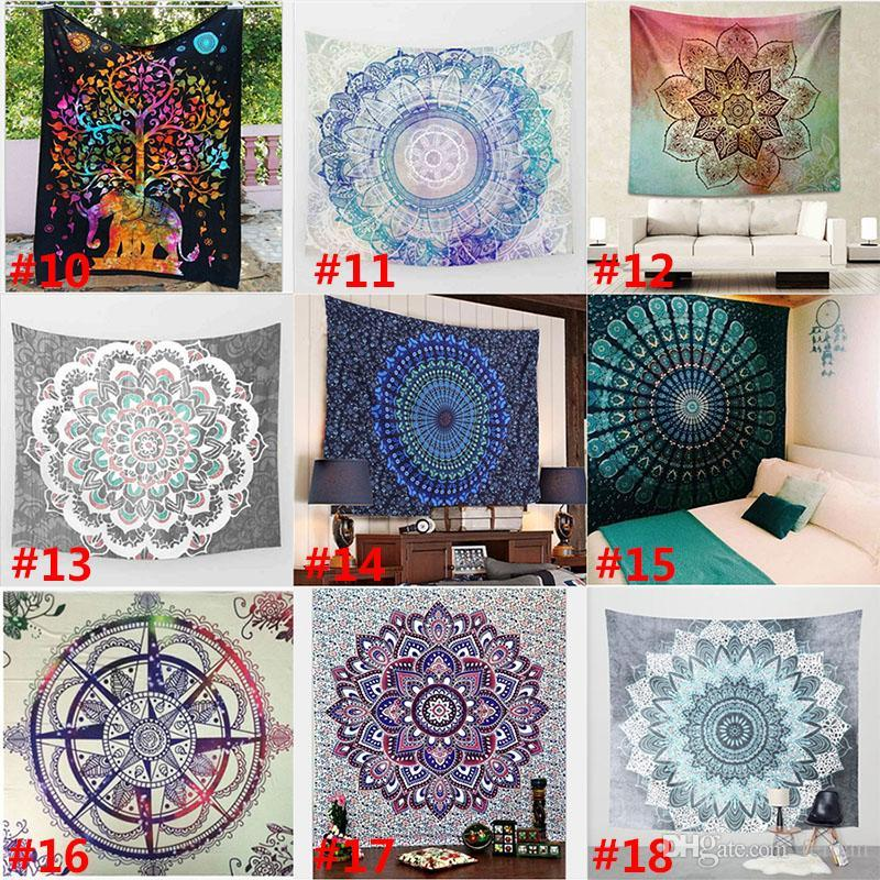 150*130cm New Tapestries Bohemian Mandala Beach Tapestry Hippie Throw Yoga Mat Towel Elephant Peacock Polyester Shawl Bath Towel
