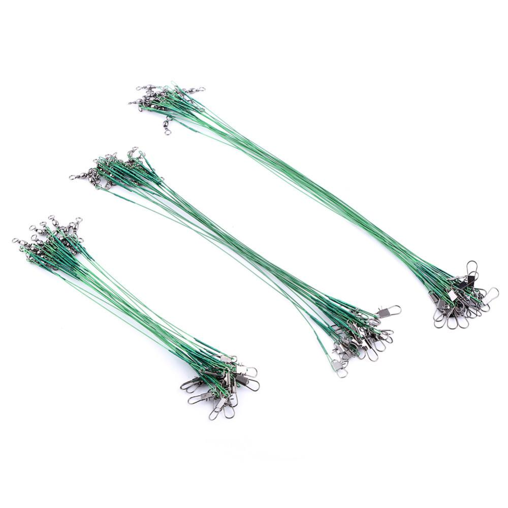 60Pcs/Set Anti-bite Stainless Fishing Wire Line Leash Lure Fishhook Line 15cm/20cm/25cm Fishing Leash With Swivel Snap A68