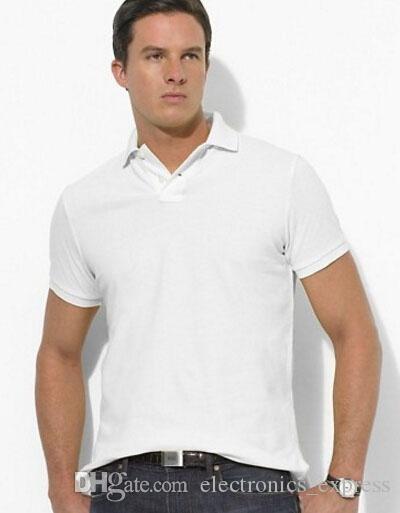 Fábrica de marcas americanas Camisas de polo para hombre Moda de manga corta de algodón clásico sólido Polos con pequeño caballo Sport Tees Brown tamaño S-XXL