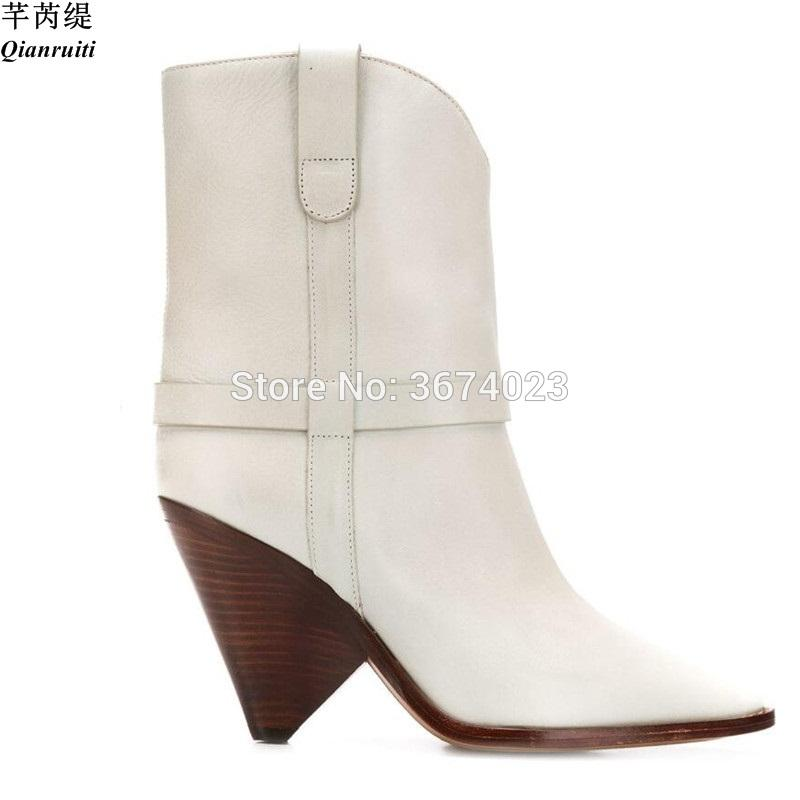 6194e97f1d2 Qianruiti Runway Women Cowboy-Style Ankle Boots White Black Pointy Conical  Heels Slip On Pointed Toe Booties Fashion Shoes Women