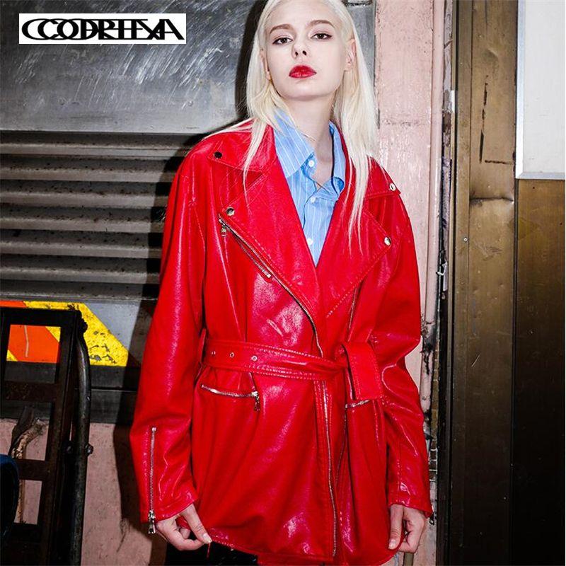 ce9b8b98f8 Acheter 2019 Mode Femmes Lâche Veste En Cuir Doux Dames Simple Grande  Taille PU Veste Bureau Casual Ceinture Mince Long Manteau Outwear Vente  Chaude De ...