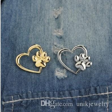 Pet Claw Print On Heart Brooch Pins Unisex Jewelry Gift Alloy Breast Brooches Jacket Jeans Accessories
