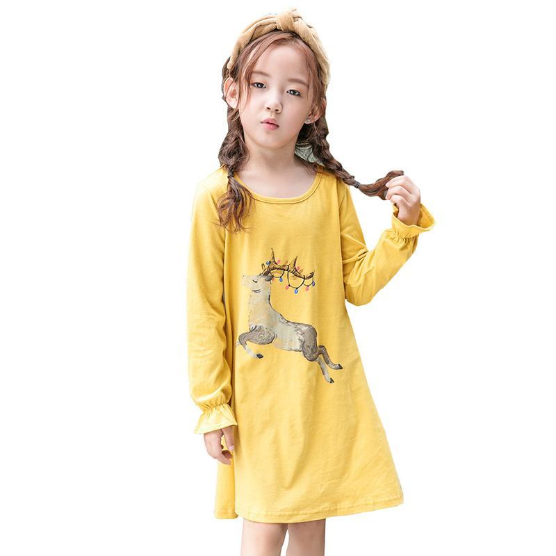 4e70f51c743e9 Acheter Robe Fille Robes D été Bande Dessinée Jaune Imprimé Fauve Coton  Princesse Coton Une Ligne Robe + Enfants Soirée De Bal Parti Vêtements Bébé  Fille De ...