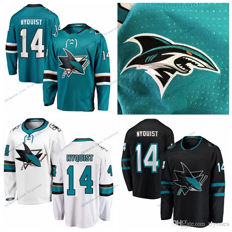 100% authentic 3cc90 9fd68 2019 Gustav Nyquist San Jose Sharks Stitched Jerseys Mens Customize  Alternate Black Home Shirts 14 Gustav Nyquist Hockey Jerseys S-XXXL