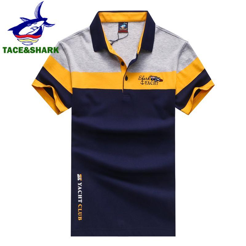 11f685e727 Tace Shark Brand Fashion Personality Mens Shark Embroidery Polo ...