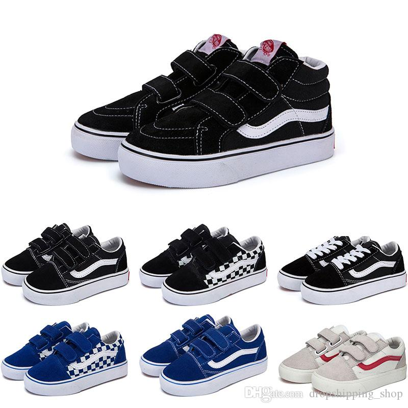 Hotsale Designer Original old skool sk8 hi kids shoes boy girl baby shoes canvas sneakers Strawberry fashion skate casual shoes size 22-35