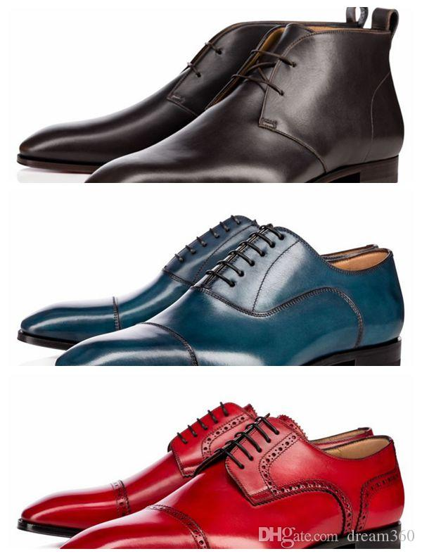 Fashion top quality Men Red Bottom Milan Boots Dress Shoes Wedding Party Shoes cheap sizes 39-46
