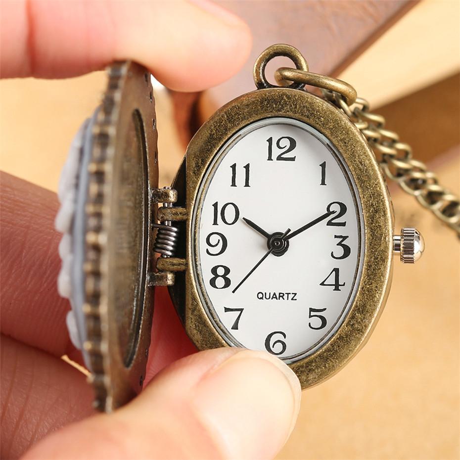 Bronze Pendant Jewelry Clock Quartz Pocket Watch Cute Cats Display Necklace Clock Oval Shape Fob Chain Watch Best Gifts reloj