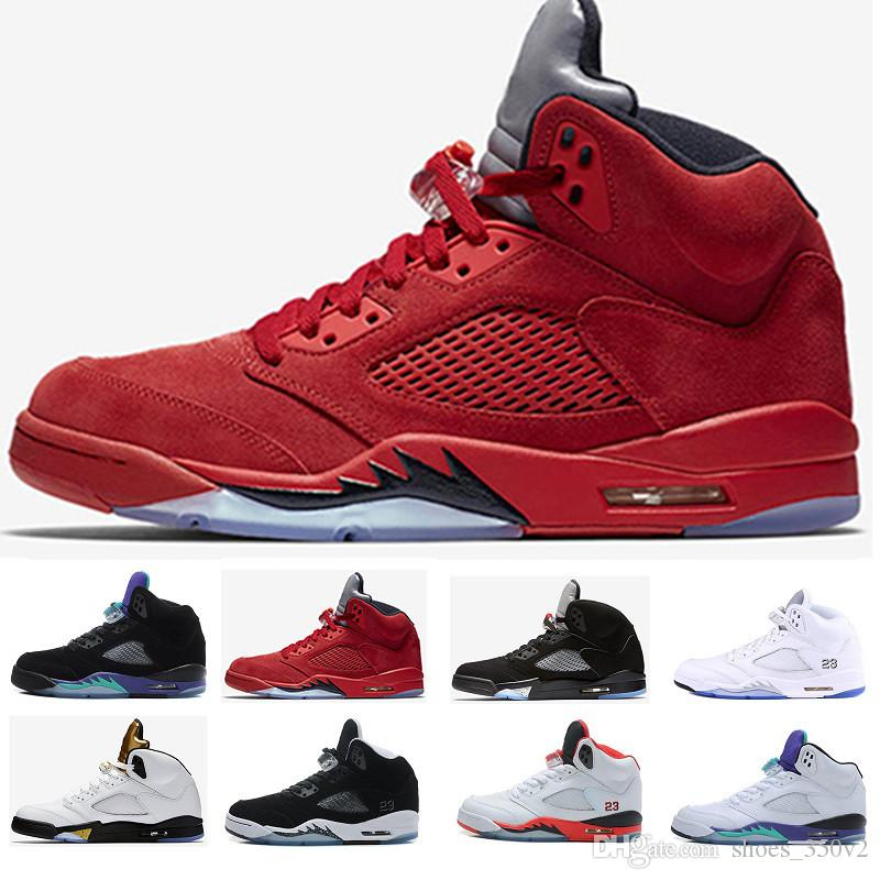 nike air jordan aj5 retro Alta calidad 5 5s Metálico negro 3M Refleja uva negra Zapatos de baloncesto Oreo para hombre 5s Rojo gamuza Zapatillas de