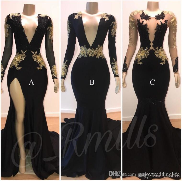 2019 Black V Neck Lace Mermaid Prom Dresses Long Sleeves Black With Gold Lace Applique Side Split Evening Gowns African Formal Wear BC0924