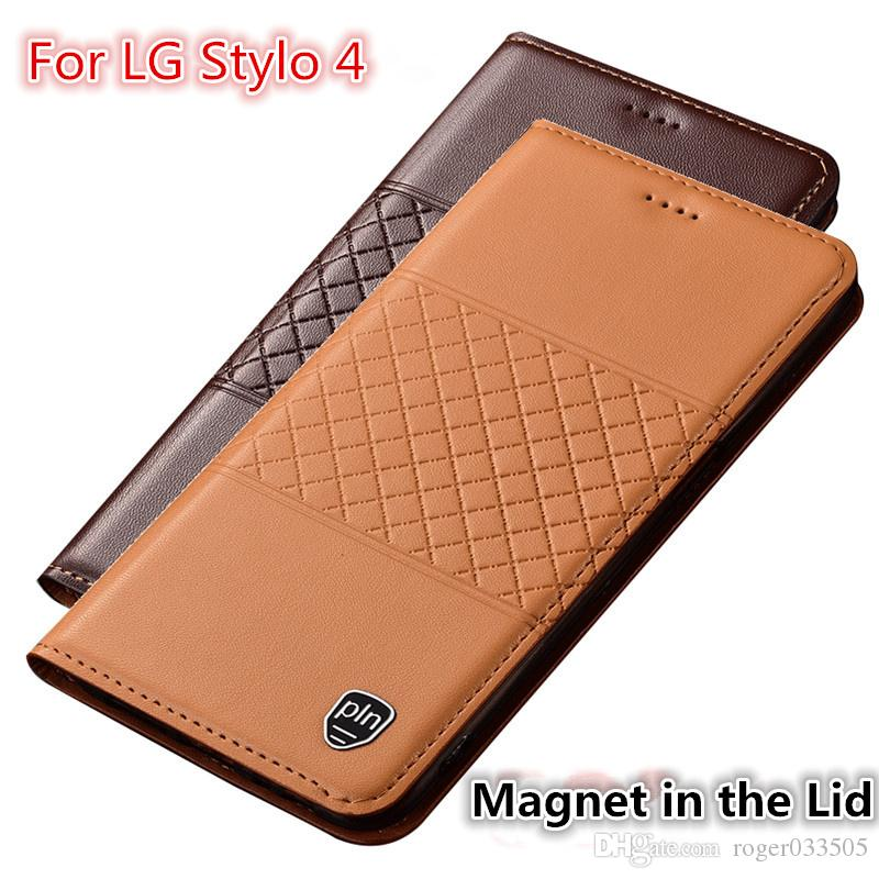 QX01 Genuine Leather Phone Case With Card Holder For LG Stylo 4 Case For LG  Stylo 4 Flip Case