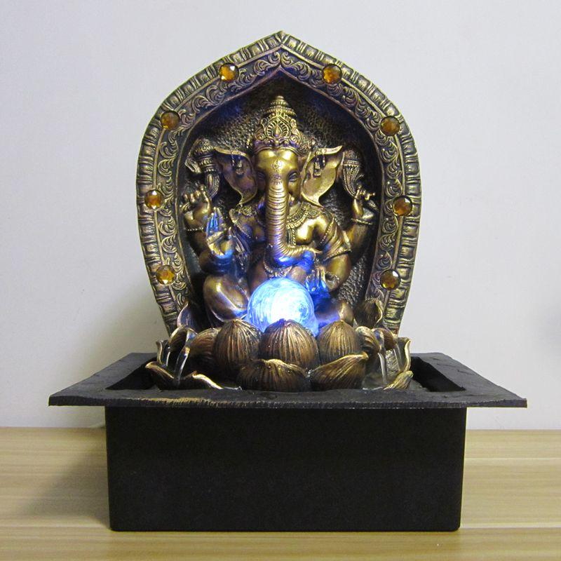 40cm God Ganesha Lucky Water Fountain Ornaments Fengshui Craft