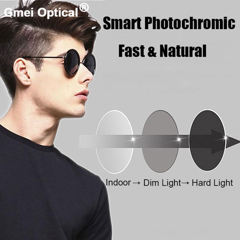 1.61 High Index Super Tough Coating Photochromic Grey Single Vision Prescription Lenses Anti-Radiation UV400 Color Change Fast