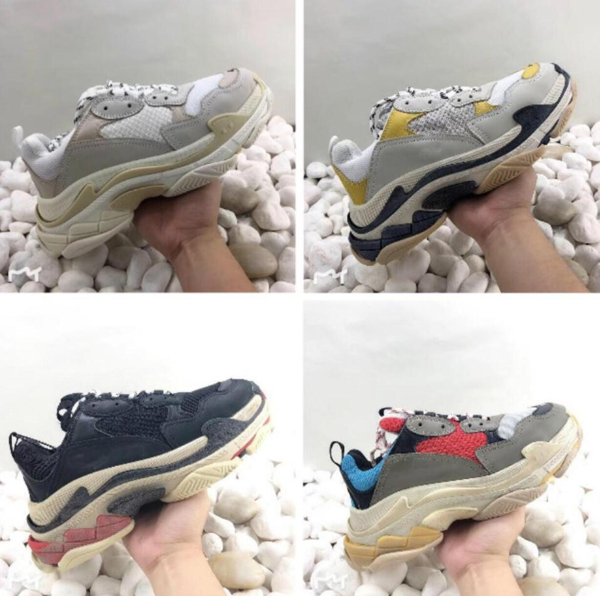 2019 cheap for men Shoes Dad Shoe Triple S Sneakers for Men Women Unveils Trainers Leisure Retro Training Old Grandpa