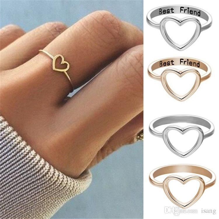 Fashion Best Friends Jewelry Ring Simple 925 Silver Hollow Heart Ring  Friendship Letter Engraved Love Ring