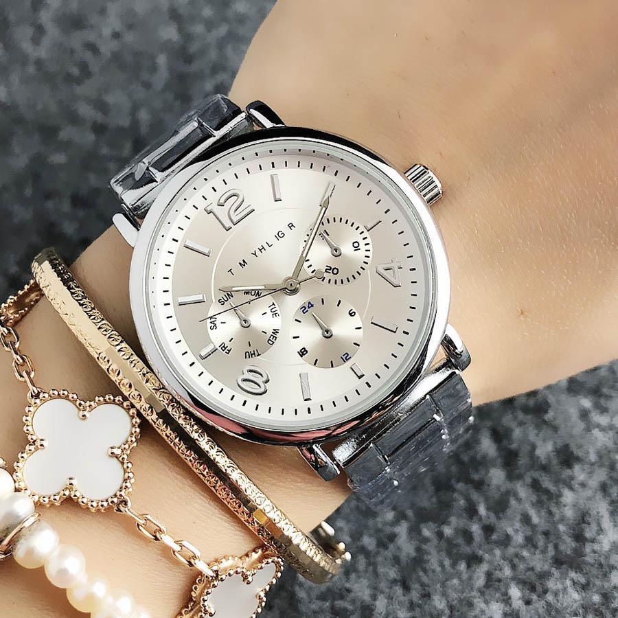 Мода Марка наручные часы для женщин Девушка 3 Dials стиле стальной металлической группы кварцевых часов 12