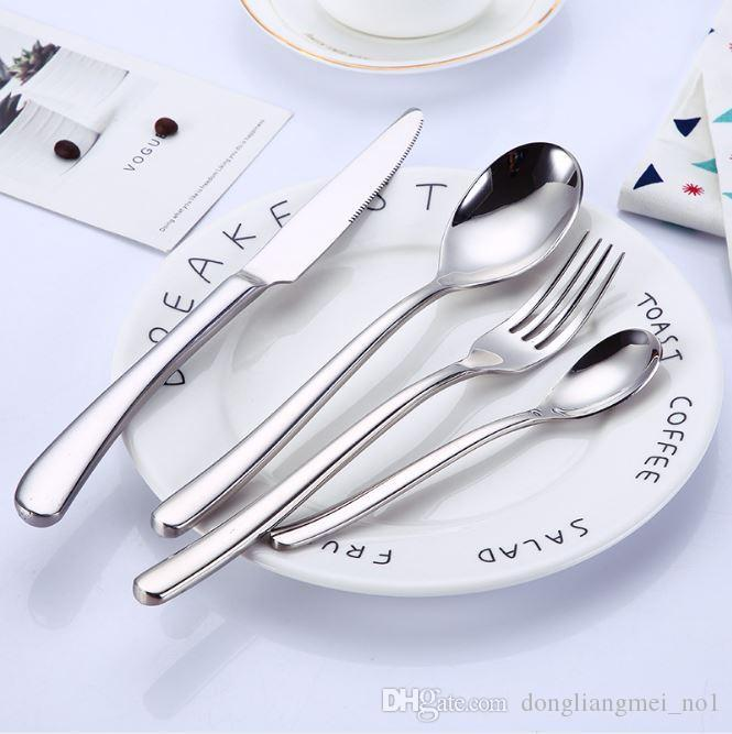 Dinnerware Set moonlight Stainless Steel Dinner Knife Fork and soup coffee ice cream Spoon Teaspoon Cutlery flatware 10 sets wn709C