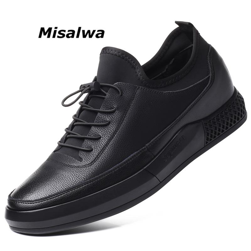 Misalwa 5 CM Height Increase Leather Casual Men Sneakers Men Elevator Shoes Thick Sole Young Men Daily Footwear Spring/Autumn CJ191225