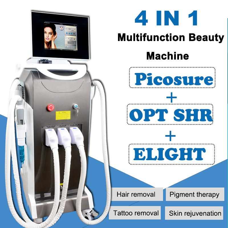 Multifuction IPL Elight OPT laser Depilación permanente Elight Skin Rejuvenation Machine eliminación de tatuajes con láser de picosegundo