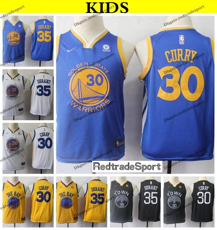 30dcf65c8877 2019 2019 Kids Golden  30 Warriors Stephen Curry Kevin Durant  35  Basketball Jerseys Youth Stephen Curry Stitched Shirts S XL From  Redtradesport