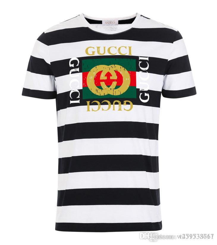 b95ac35d3e6 2019 men's wear designer T-shirt white and black striped clothing luxury brand  clothing T-shirt provided by European and American men