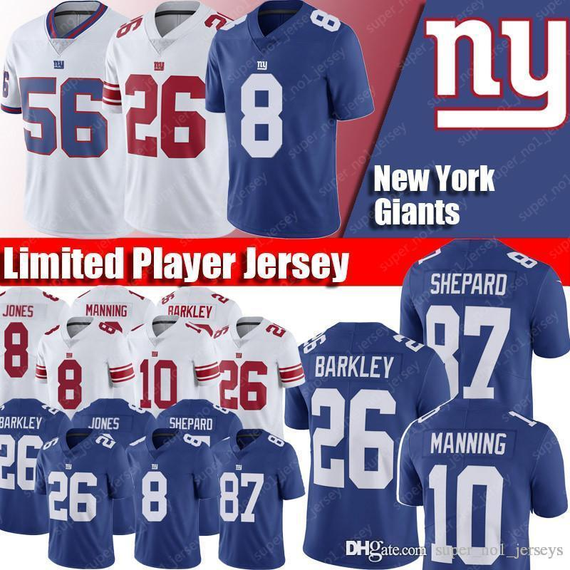 finest selection bedc7 ce1bd New York Giants Jerseys 8 Daniel Jones Jersey 26 Saquon Barkley Jerseys 56  Lawrence Taylor Jersey 10 Eli Manning 21 Landon Collins