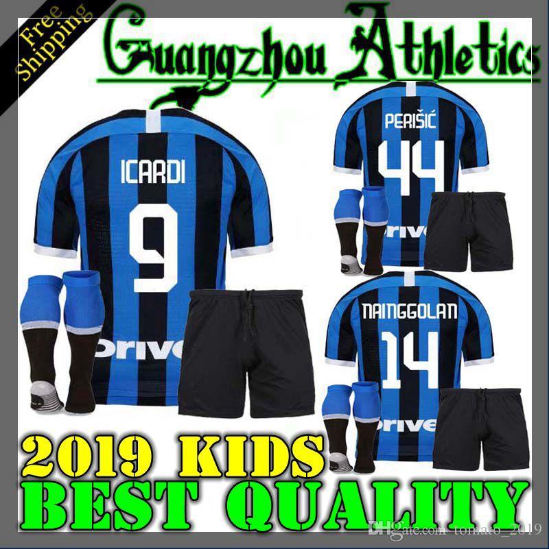 timeless design c77f1 464cb 2019 kids children soccer jersey for Inter Milan home football shirts 19 20  ICARDI SKRINIAR RAFINHR men football jerseys uniform size 16-28