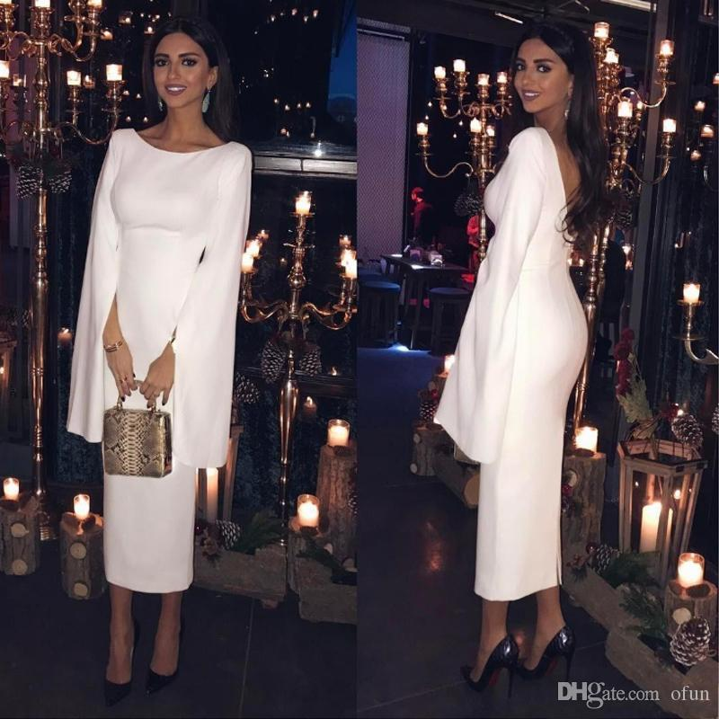 Cheap Long Sleeve Sheath Evening Cocktail Party Dress Arabic Dubai White Backless Tea Length Prom Gowns Robe De Soiree