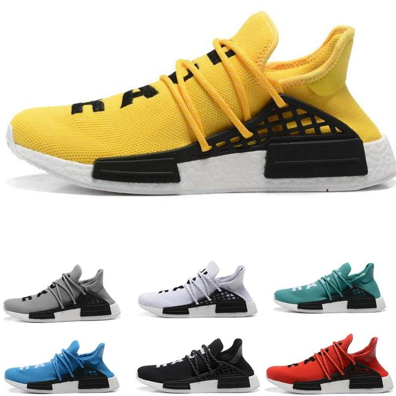 finest selection 35e89 659df 2018 Men Human Race Sports Boost Yellow Red Green Black Orange women  Pharrell Williams X Human Race Outdoor Running Shoes EUR 36-46
