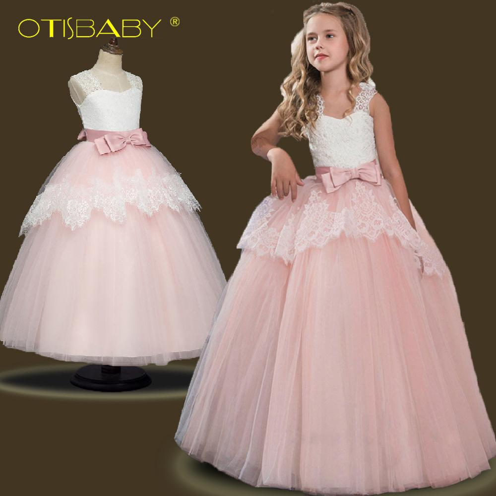 88fd095ba1996 2019 Summer Girls Lace Flower Princess Dresses Kids Party Ball Gown ...