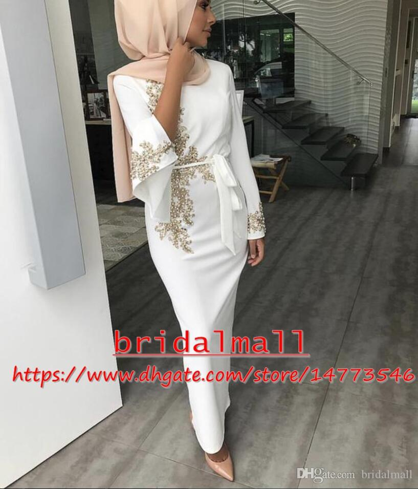 6544574a38 Saudi Arabic 2019 Ankle Length Evening Dresses With Long Sleeve Gold  Appliqued Satin Long Prom Dress Plus Size African Formal Party Gowns  Evening Dresses ...