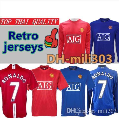 Compre Top Qualidade Tailândia 2007 2008 Manchester United Retro Final UCL  Manutd Camisas De Futebol 07 08 RONALDO Camisa De Futebol Jerseys Camisa  Especial ... fbb09b1a5ae50