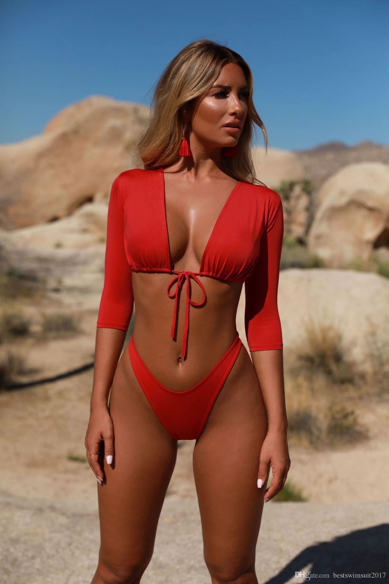 76d6d0069538c Hot Sale Swimwear for Women Bikini Set 2019 Sexy Long Sleeve Bikinis  Swimsuit Woman Beach Biquini Summer High Cut Swim Wear Bathing Suits  Swimwear for Women ...